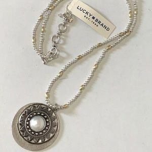 Lucky brand antique plated silver pendant necklace